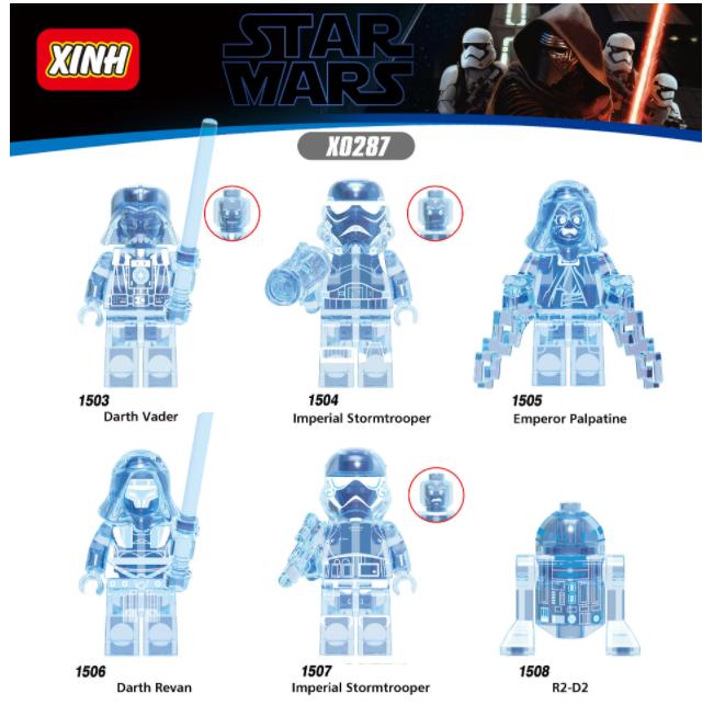 XINH Star Wars Stormtrooper Darth Raven Holographic R2-D2 Minifigures