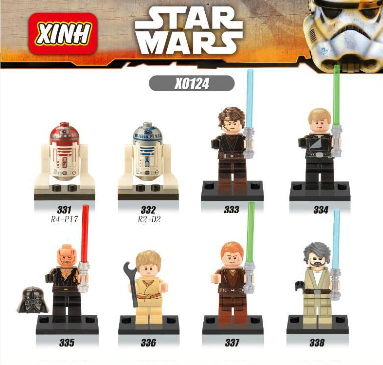 XINH Star Wars X0124 Anakin Luke Robot Minifigures