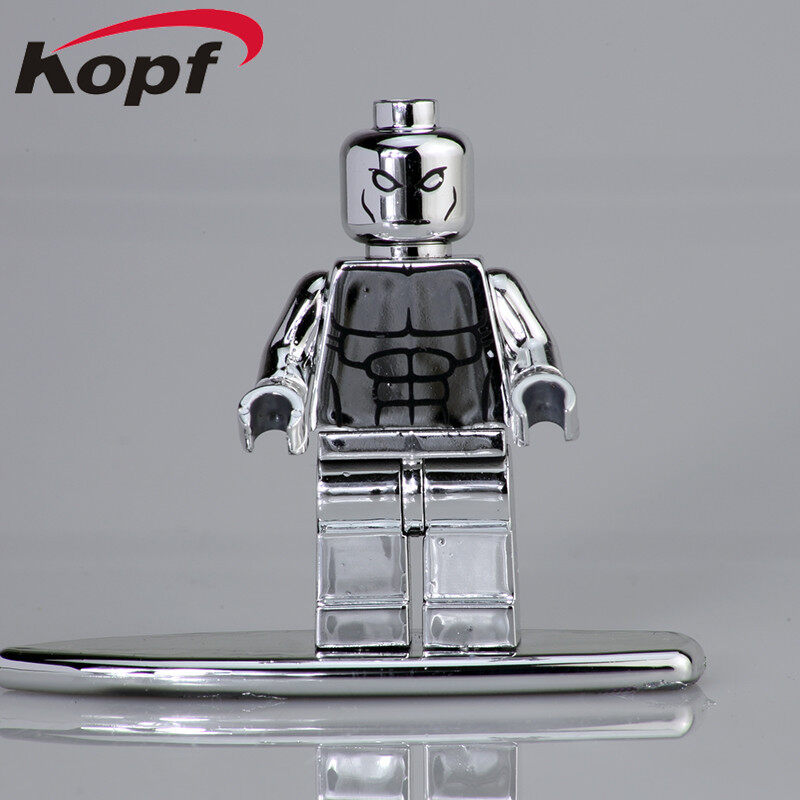 Kopf Superhero Series - KF2055 Electroplating Silver Shadowman minifigure