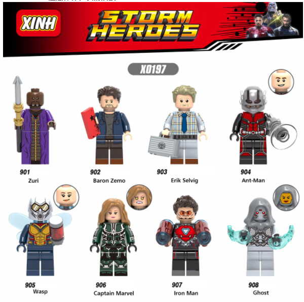 XINH Super Hero Figures X0197 Baron Zulizemo Ant-Man Wasp Lady Ghost Minifigures