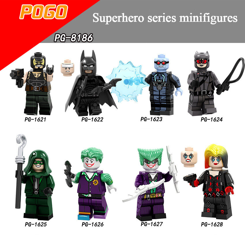 Pogo Superhero Series - PG8186 Bain Batman Frozen Man Clown Catwoman Minifigures