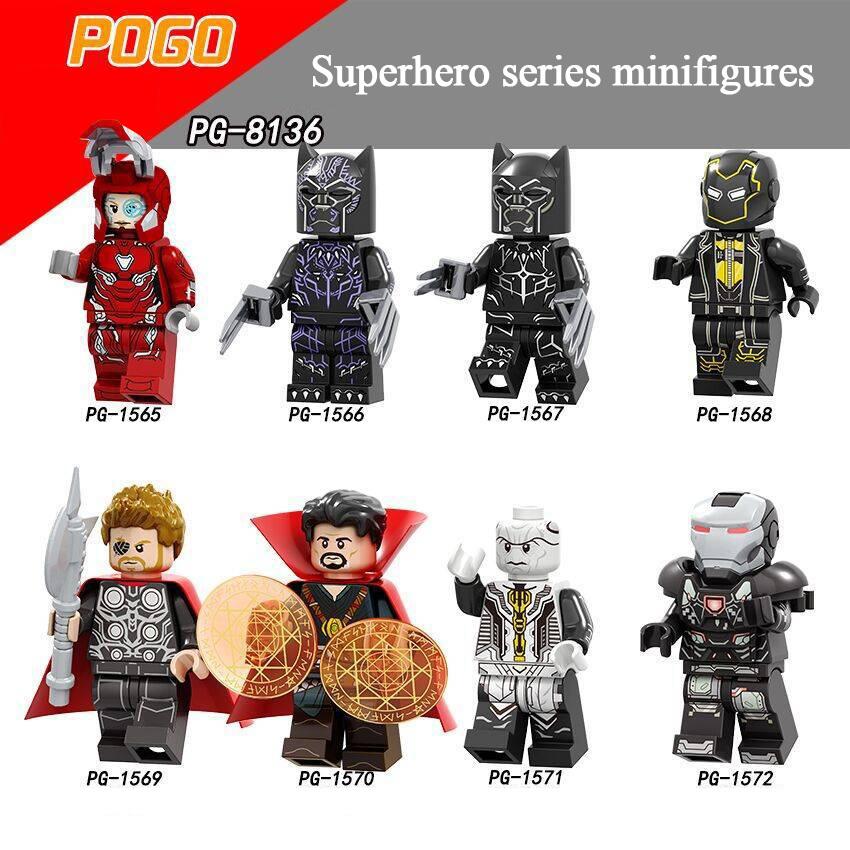 Pogo Superhero Series - PG8136 Black Panther Purple Ronin Thor Ebony Throat Minifigures