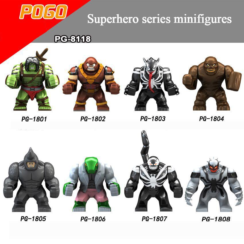 Pogo Superhero Series - PG8118 Son of Hulk Red Tank Mud Face Serum Rhino Man Minifigures