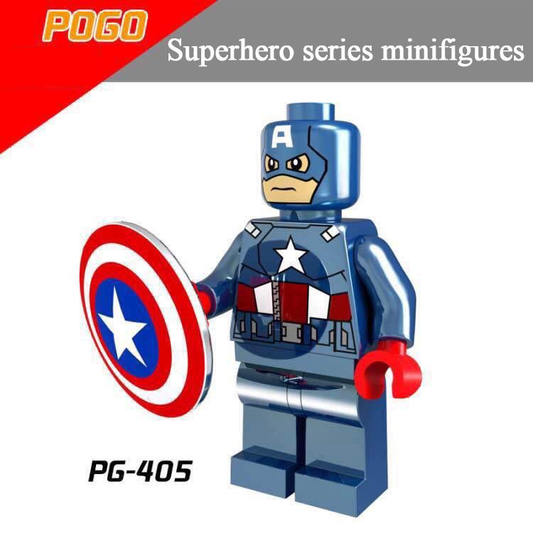 Pogo Superhero Series - PG405 Electroplating Captain America Minifigures