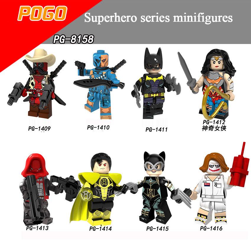 Pogo Superhero Series - PG8158 Deadpool Wonder Woman Superman Catwoman Minifigures