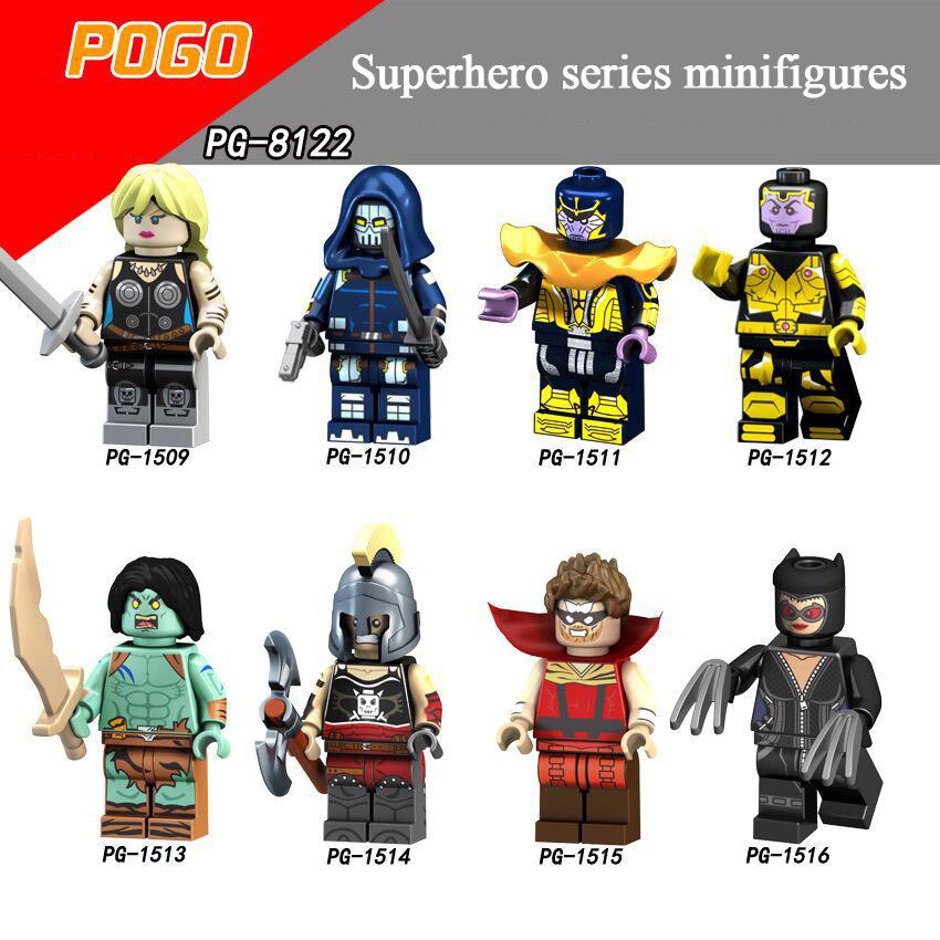 Pogo Superhero Series - PG8122 The Master of Model Fang Hulk Ares Gorgon Cat Minifigures