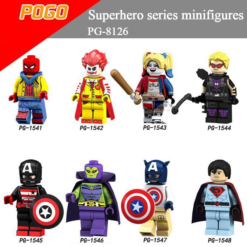 Pogo Superhero Series - PG8126 Spider-Man Clown Hawkeye Mactan Minifigures
