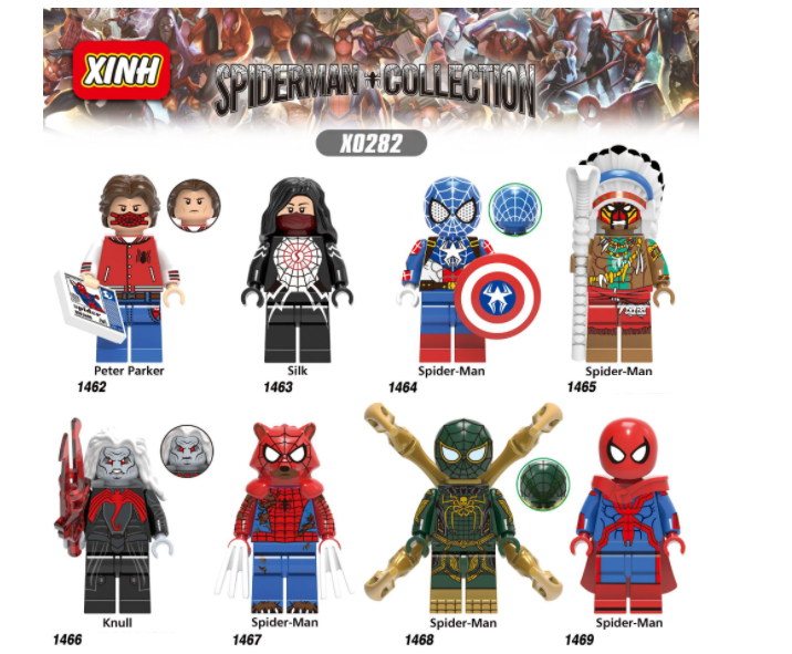 XINH Super Hero Figures X0282 Super English Spider Silk Tribe Minifigures