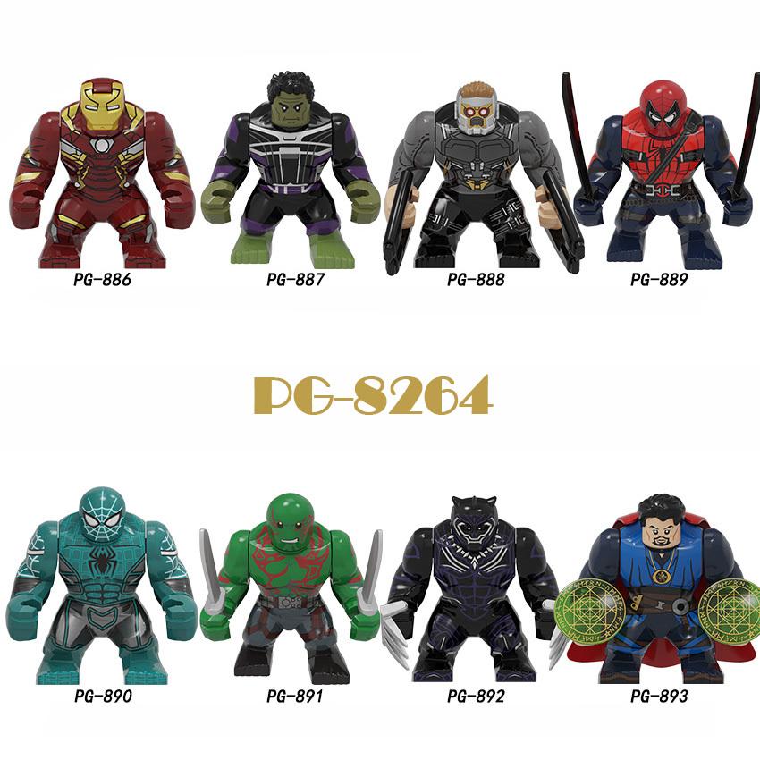 Pogo Superhero Series - PG8264 Iron Man Hulk Star Lord Deadpool Black Panther Minifigures