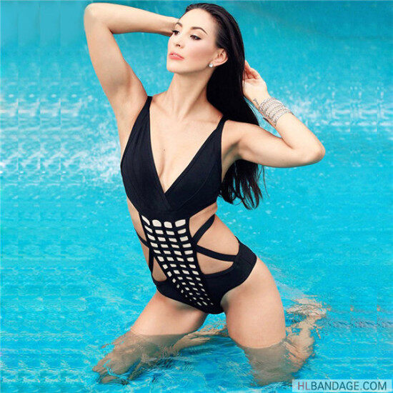 7c37d19f19da black halter grid mesh cut out one piece 2017 newest arrival rayon sexy bandage swimsuit 1500024833175 6.jpg x-oss-process image resize