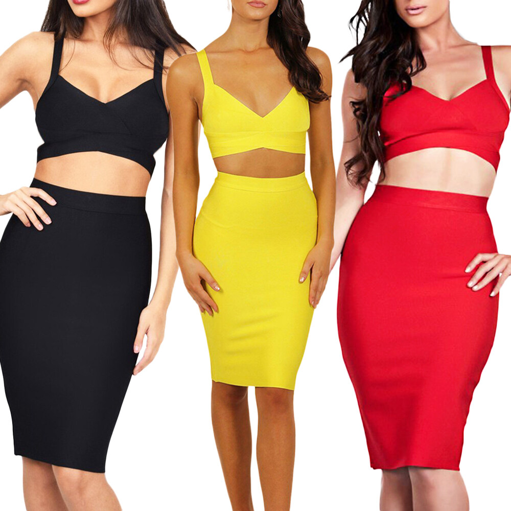 cab8efe28fbea Two Piece 2018 Women's High Quality Bodycon Clubware Knee Length Bandage  Dress