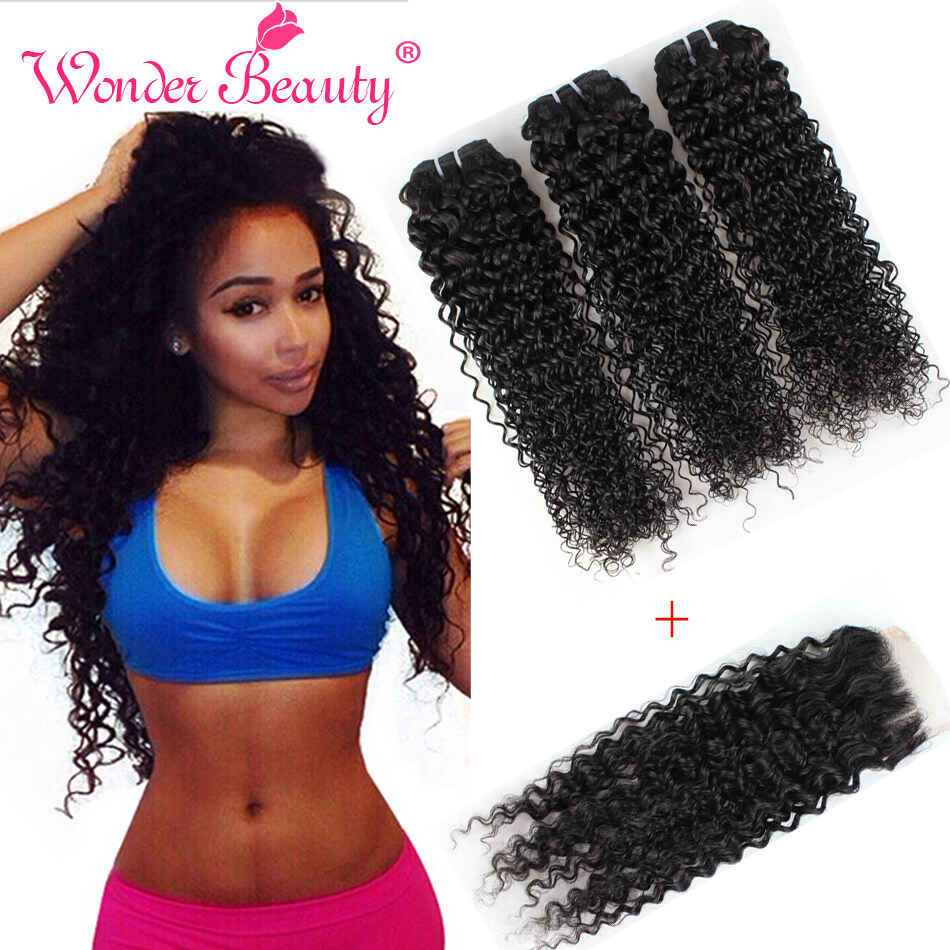 Wonder Beauty Indian Virgin Hair With Lace Closure Kinky Curly 4