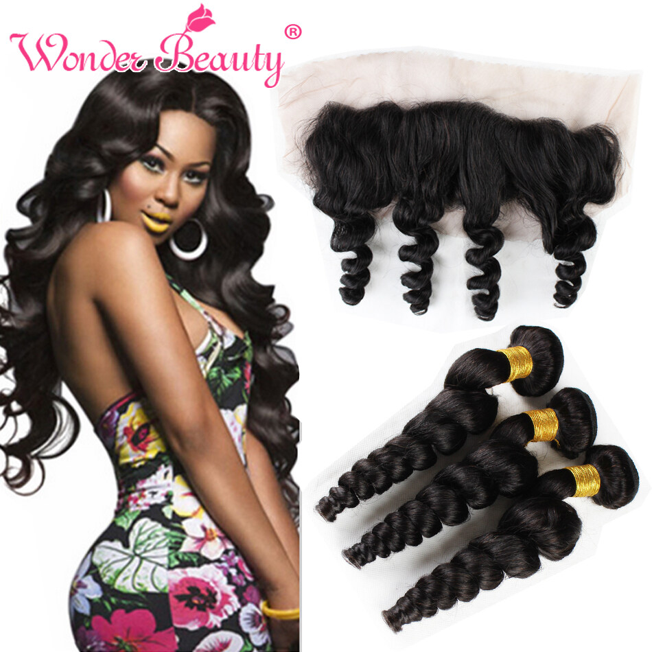Brazilian Curly Hair 3 Bundle Deals With 13x4 Ear To Ear Lace