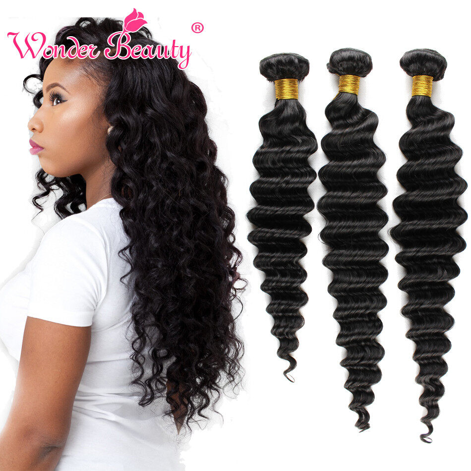 Brazilian Virgin Hair Deep Wave Wonder Beauty Hair 3 Bundles Per Lot