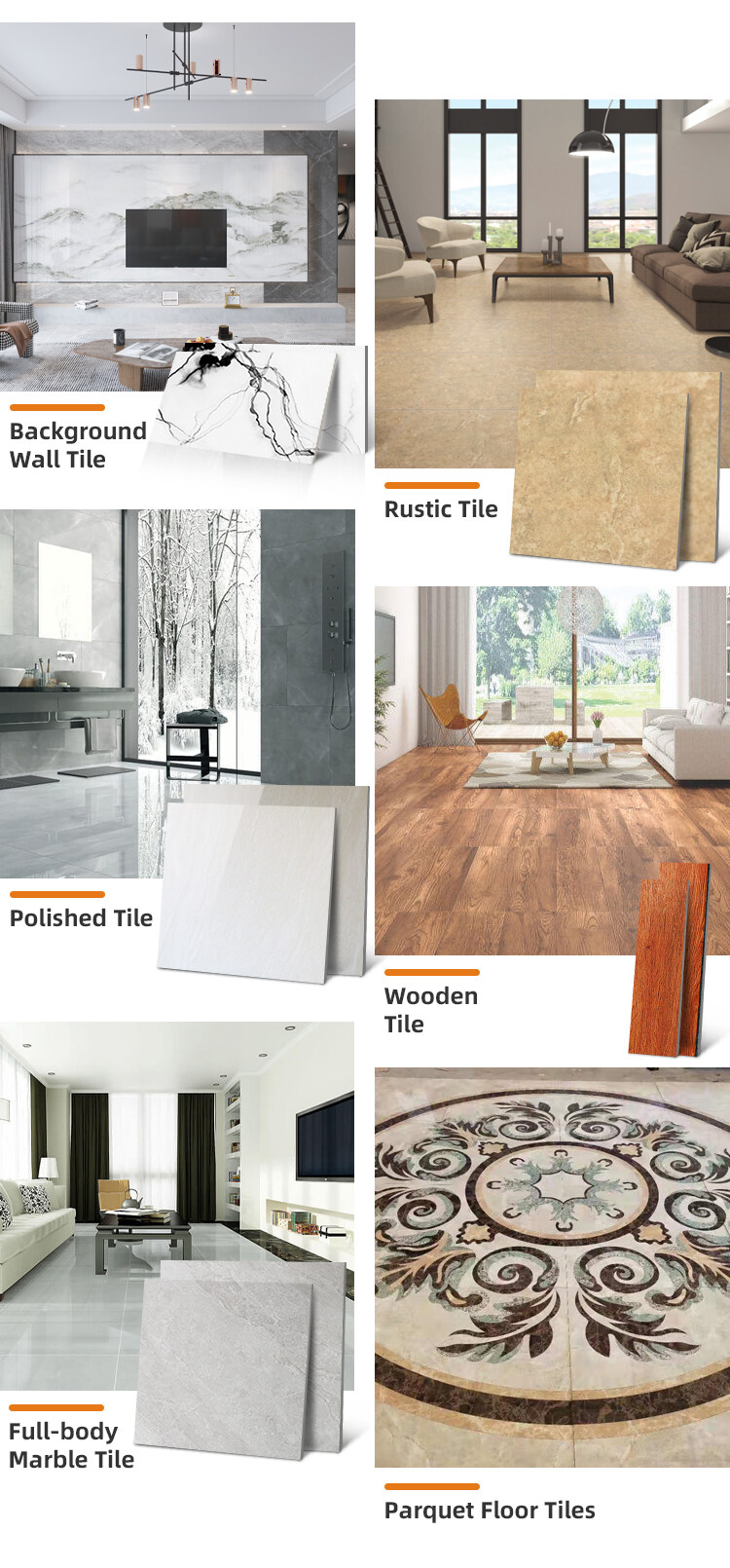 custom drawing room porcelain size marble tiles indoor glossy parquet floor tiles