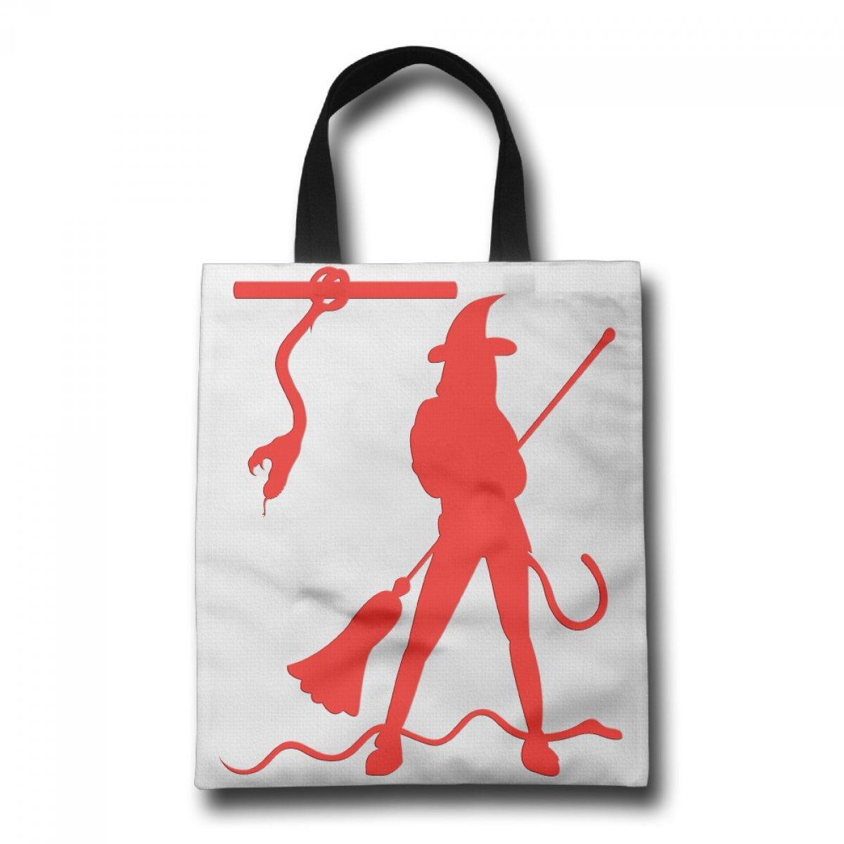 PhoRock Women's Tote Bag Festival Double-Sided Blessing White Shopping Bags Red Halloween Shopping Bag GWJR006 0