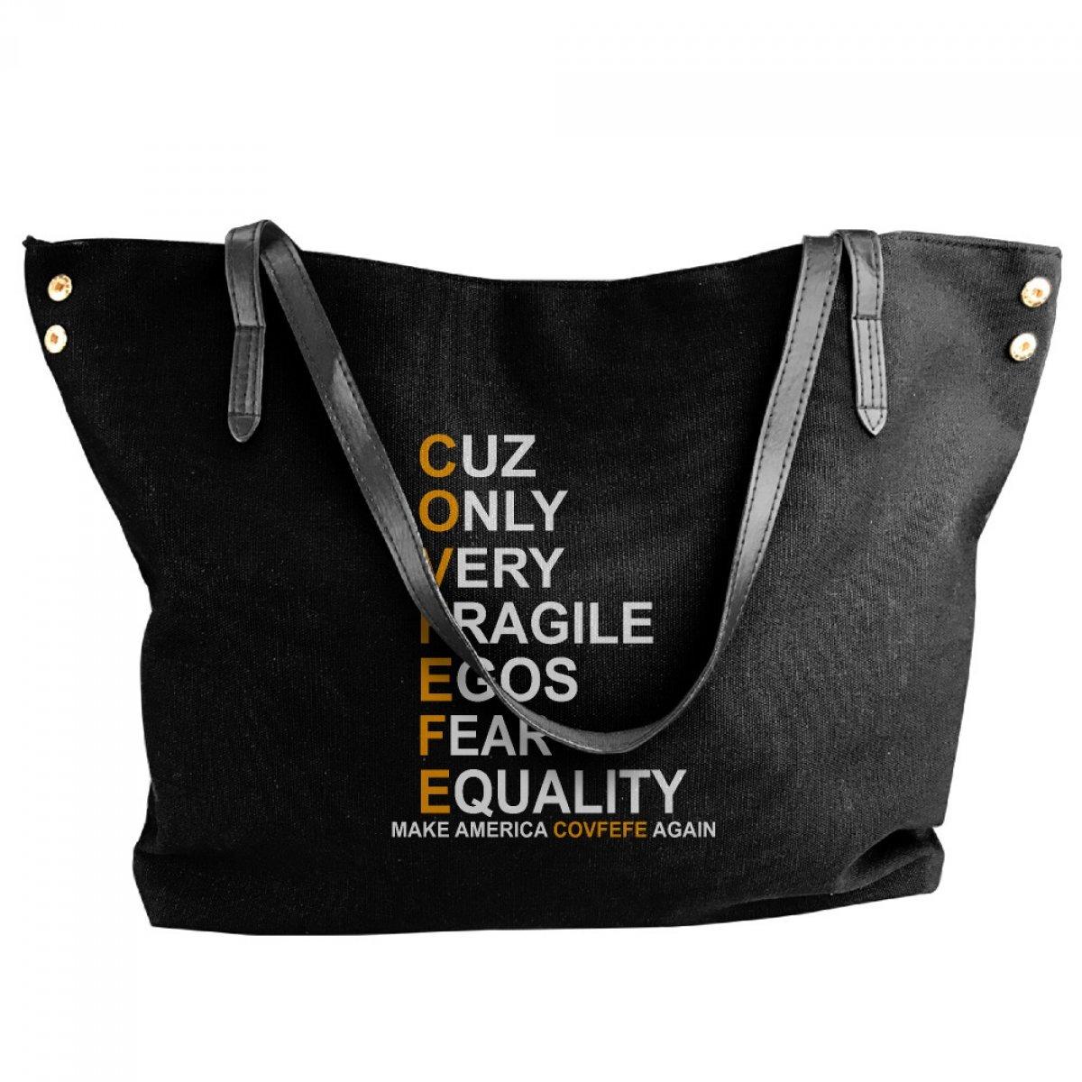 PhoRock Women's Canvas Shoulder Bag COVFEFE Hotspot Style Pattern Black Shopping Handbags FDRA005 0