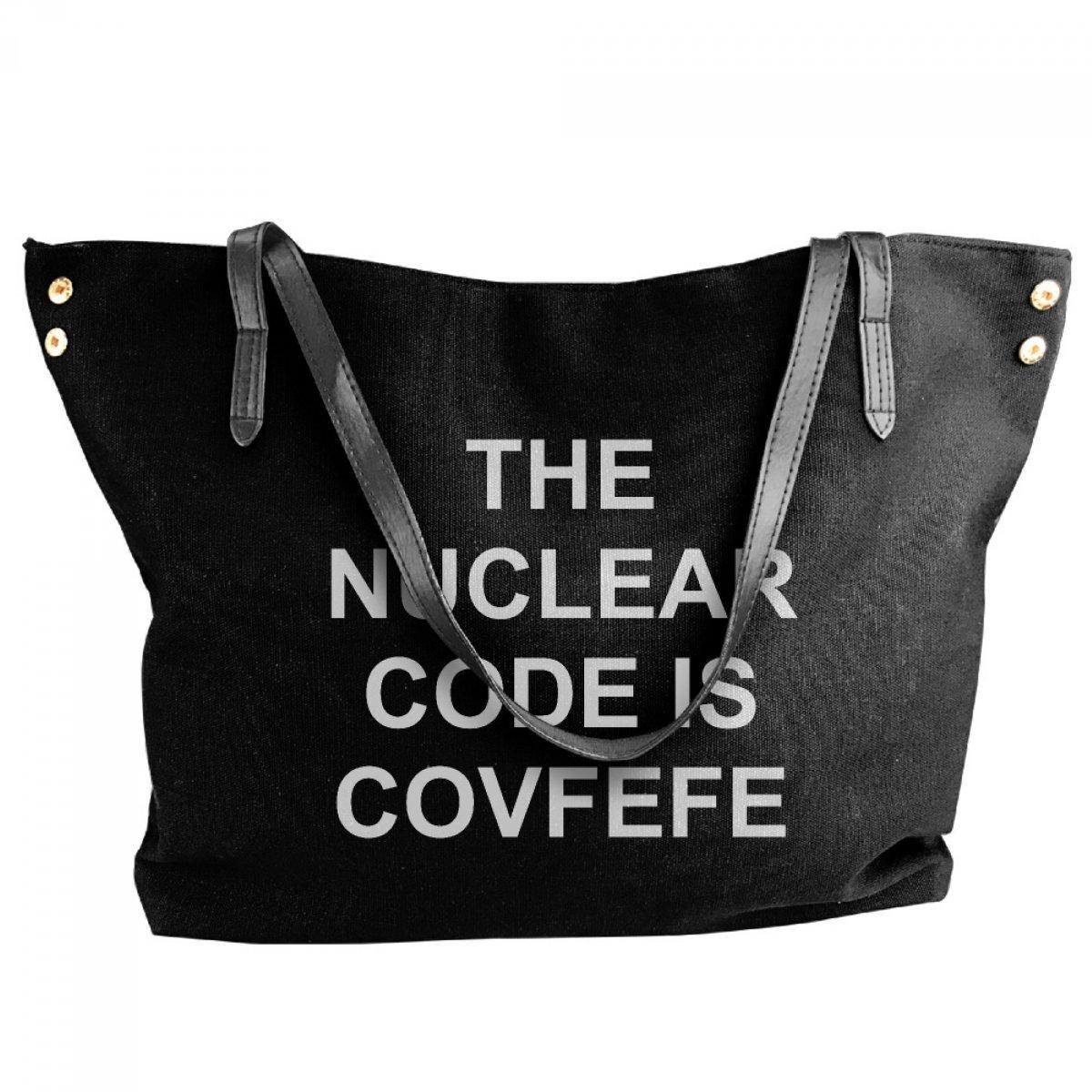 PhoRock Women Single Shoulder Handbag COVFEFE Hotspot Code Alphabet Female Black Canvas Shoulder Bag FDRA009 0