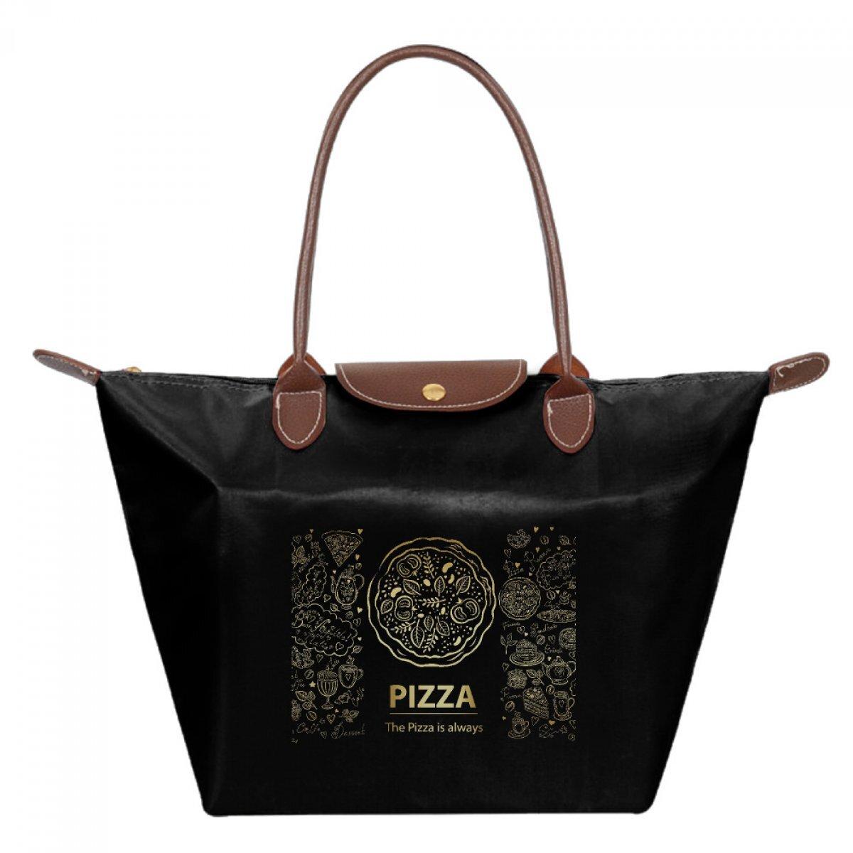 PhoRock Women Foldable Handbag Dumpling Bags Stylish Waterproof Shape Bag Pizza Printed Lady Folding Hobo Bag JZMS002 0