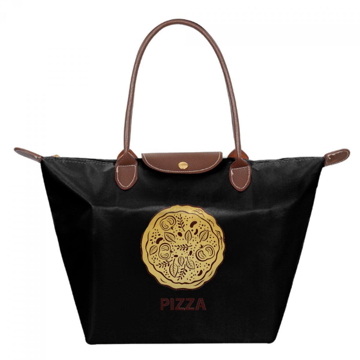 PhoRock Foldable Nylon Bag Tote Women Dumpling Bags Waterproof Shopping Handbags Yellow Pizza Printed Hobo Bag JZMS004 0