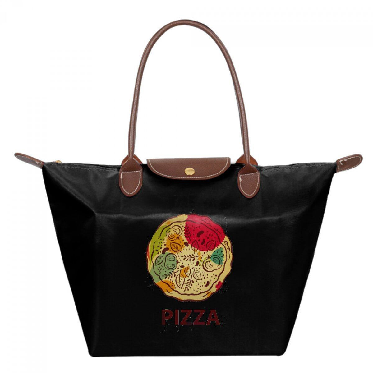 PhoRock Women Casual Waterproof Tote  Nylon Red Pizza Printed  Foldable Dumpling Bags JZMS006 0