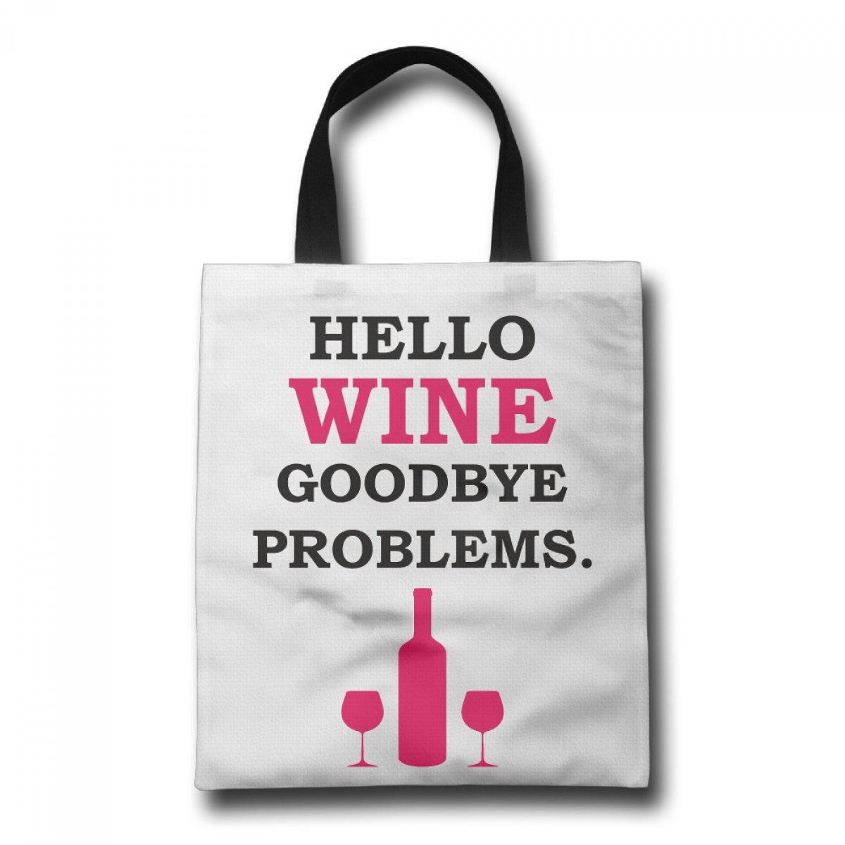 PhoRock Ladies Canvas Tote Bag Hello Wine Printed Beach Tote GWJP005 0