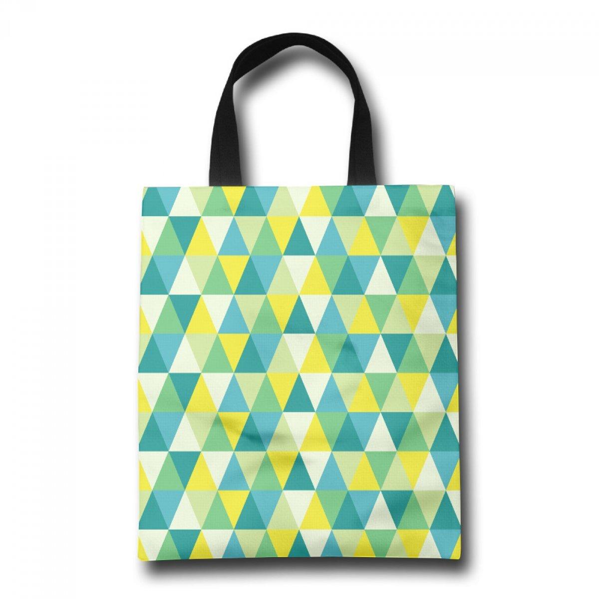 PhoRock Ladies Tote Bag Triangular Geometry Printed Canvas Beach Tote GWJH016 0