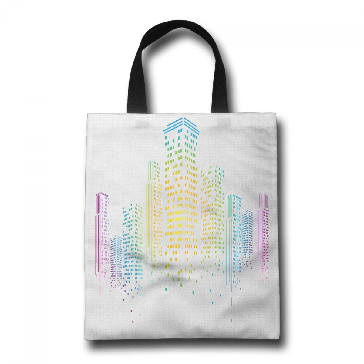 PhoRock Women Beach Tote High-Rise Building Printed Canvas Tote Bag GWJZ003 0