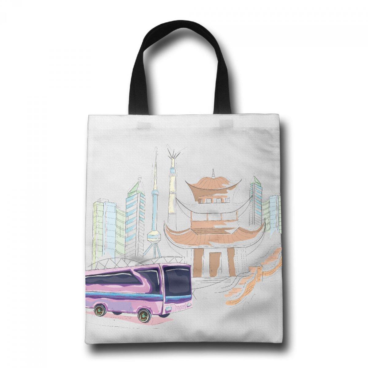 PhoRock Women Canvas Beach Tote A Bus Printed Tote Bag GWJB010 0