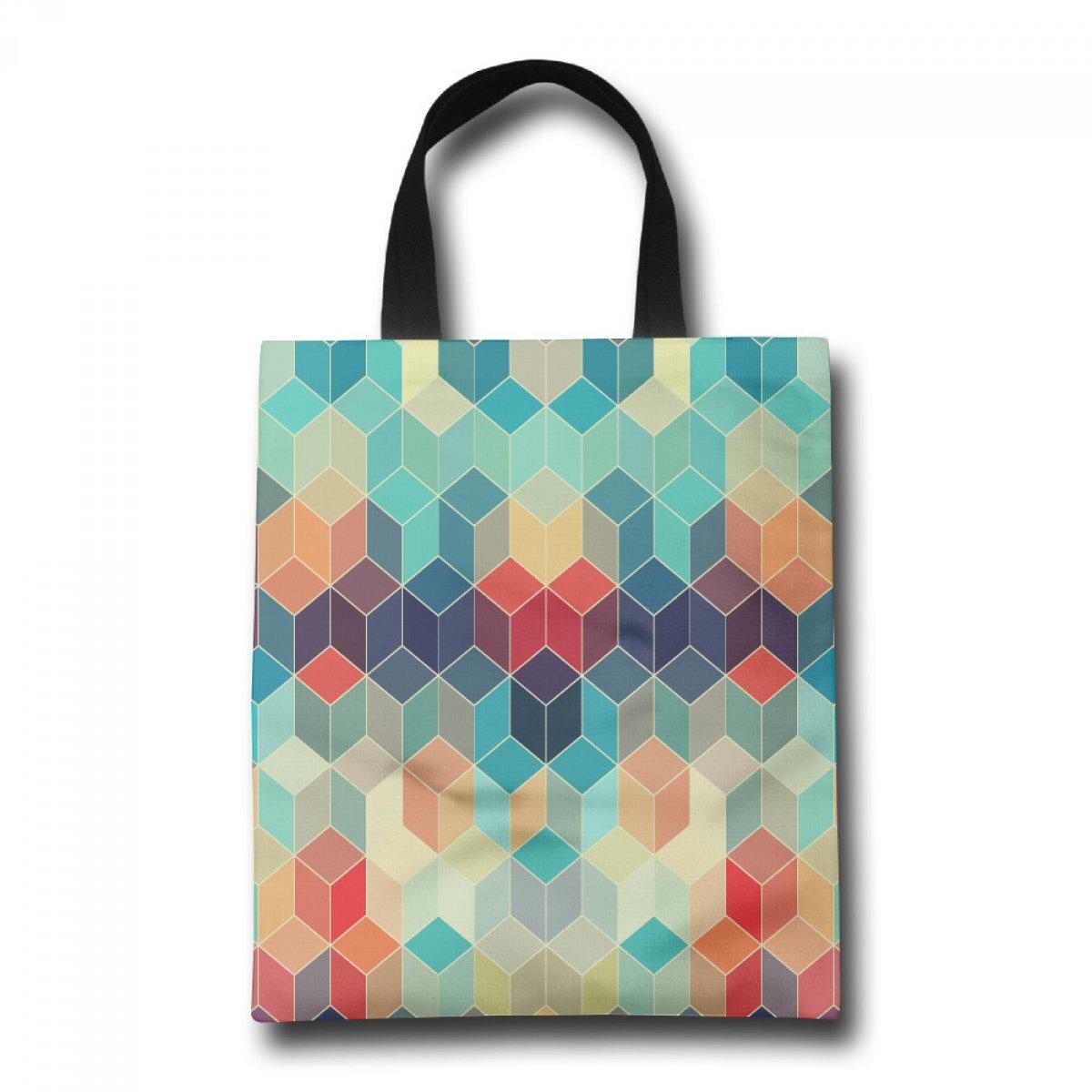 PhoRock Women Canvas Beach Tote Colorful Diamonds Printed Tote Bag GWJH037 0