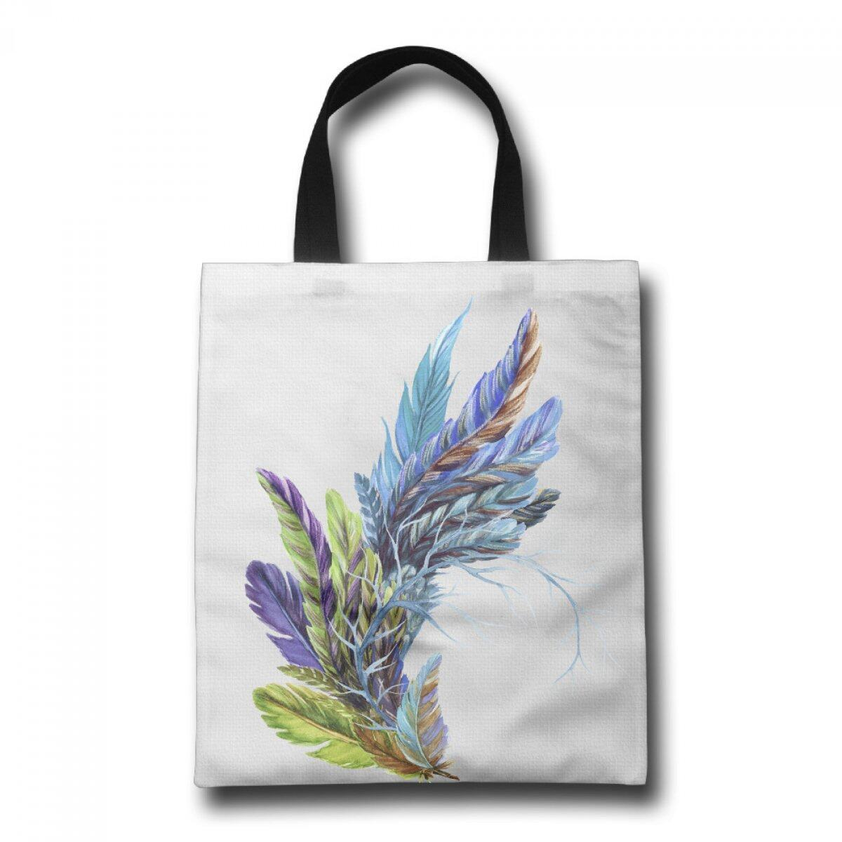 PhoRock Women Canvas Beach Tote Colorful Feathers Printed Tote Bag GWHD002 0