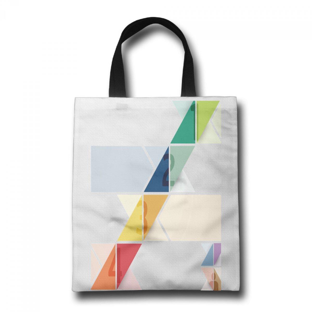 PhoRock Ladies Canvas Beach Tote Colorful Number Printed Tote Bag GWTB014 0