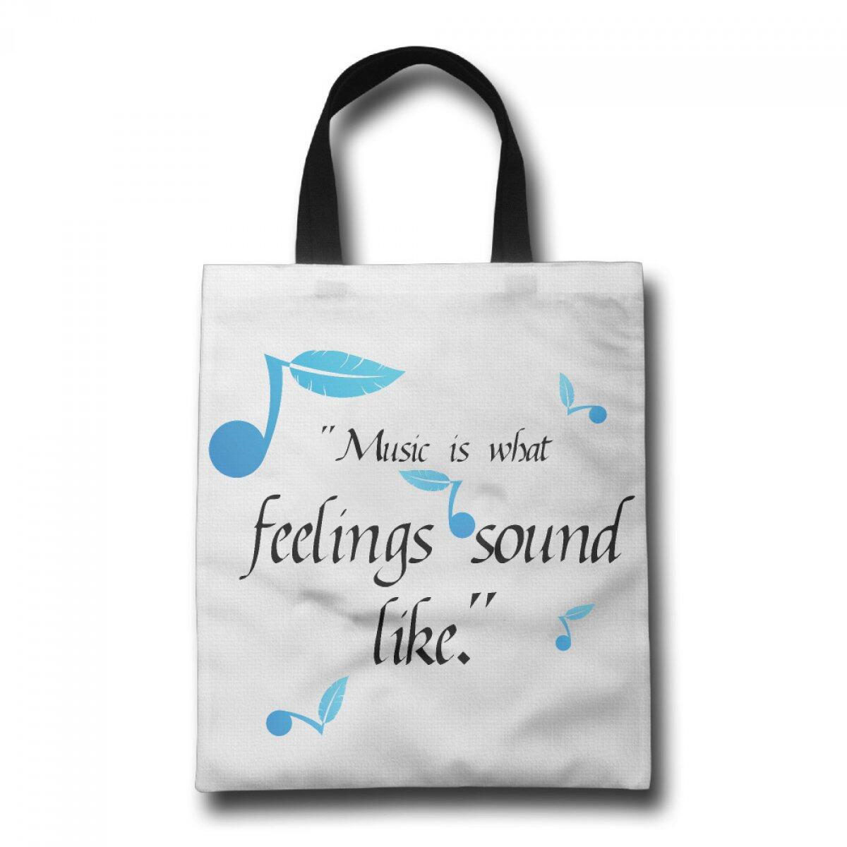 PhoRock Ladies Canvas Tote Bag Blue Musical Note Printed Beach Tote GWWZ005 0