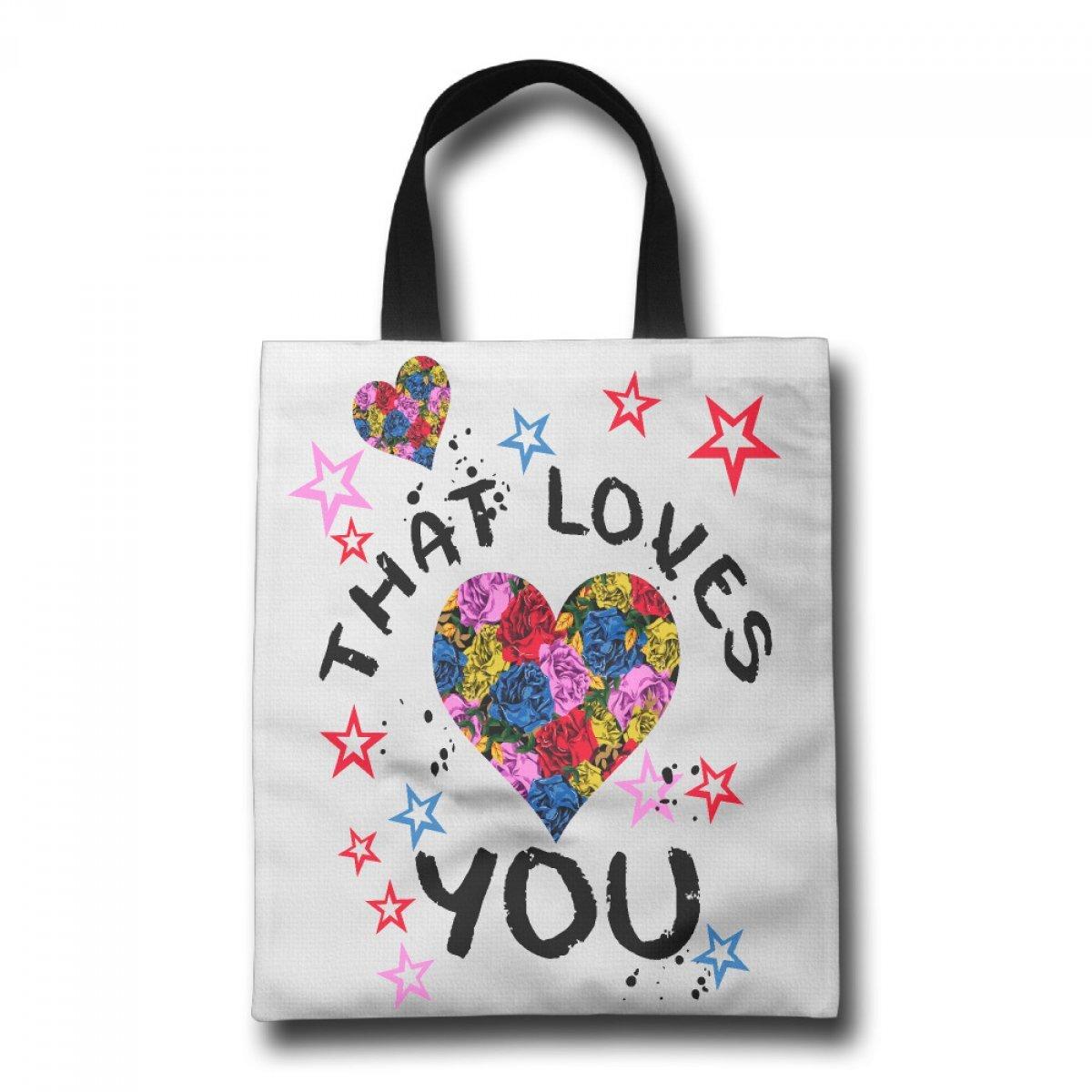 PhoRock Ladies Canvas Tote Bag Love You Printed Beach Tote GWZM005 0