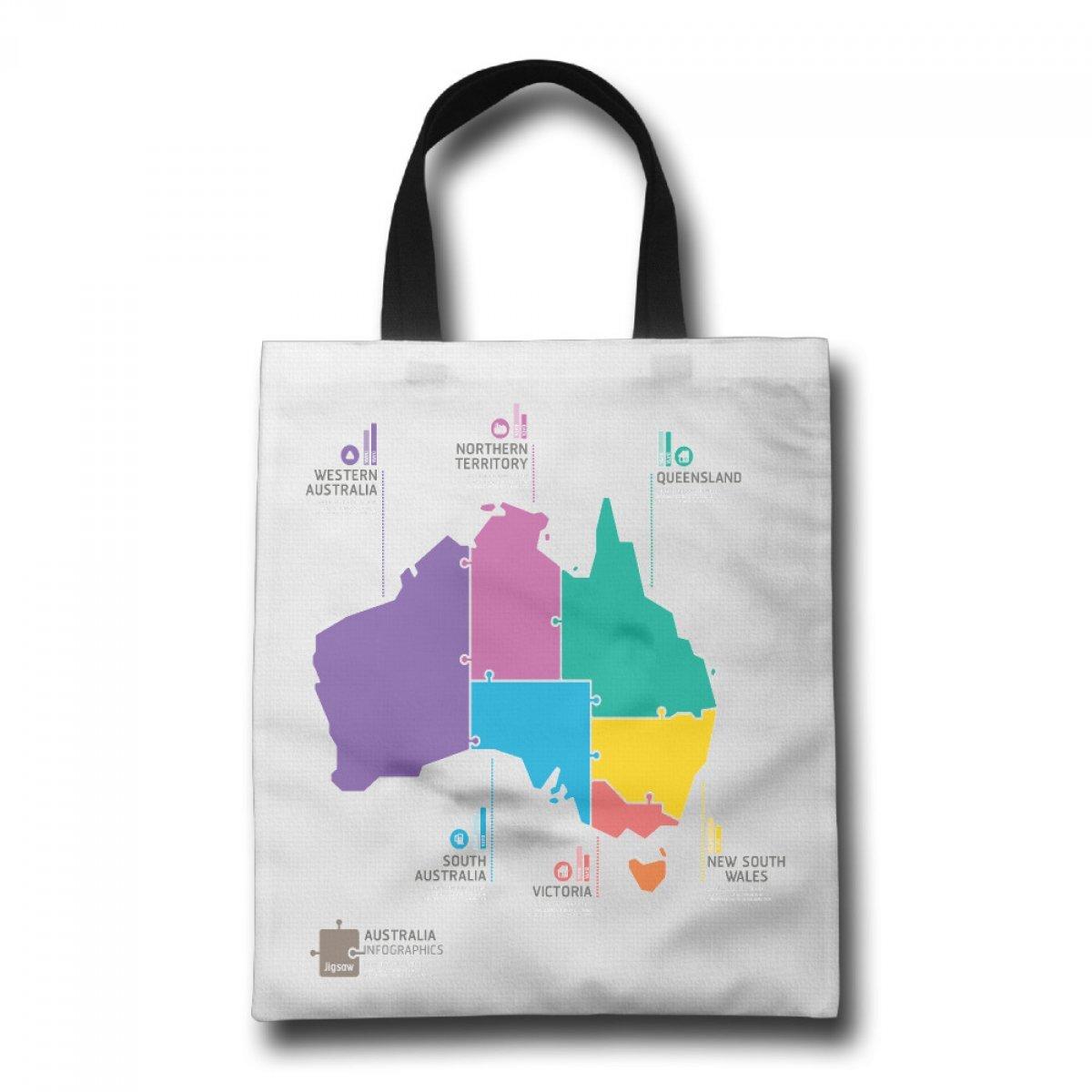 PhoRock Ladies Tote Bag An Australia Infographics Printed Canvas Beach Tote GWTB008 0