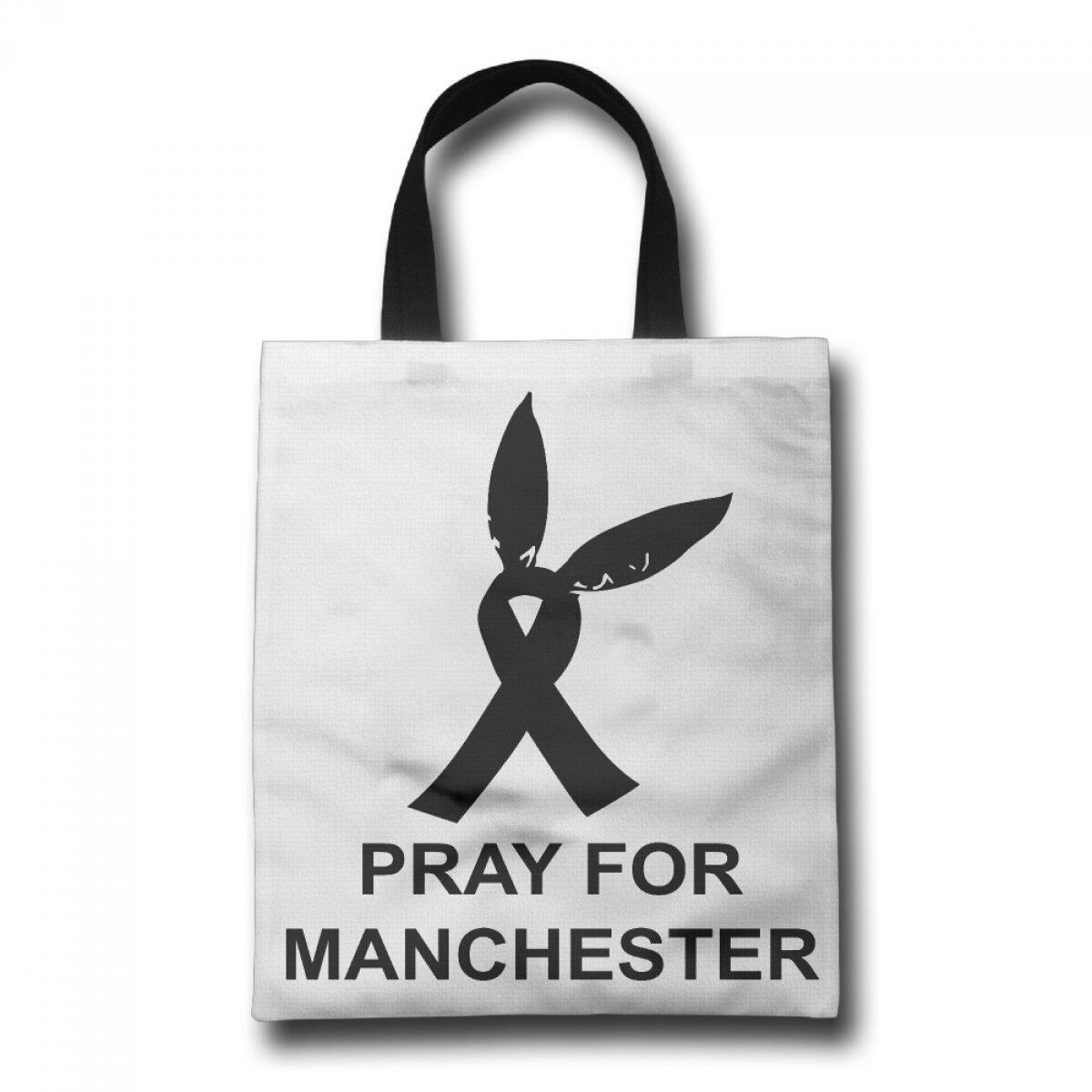PhoRock Women Beach Tote Pray For Manchester Printed Canvas Tote Bag GWRF003 0