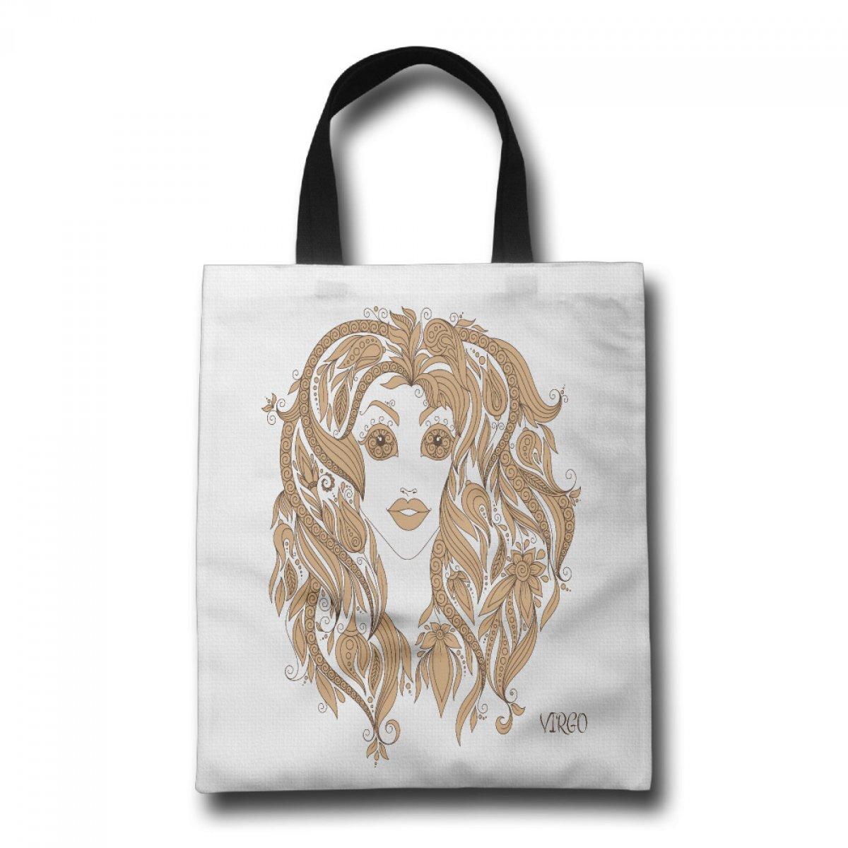 PhoRock Women Beach Tote Virgo Printed Canvas Tote Bag GWXZ019 0