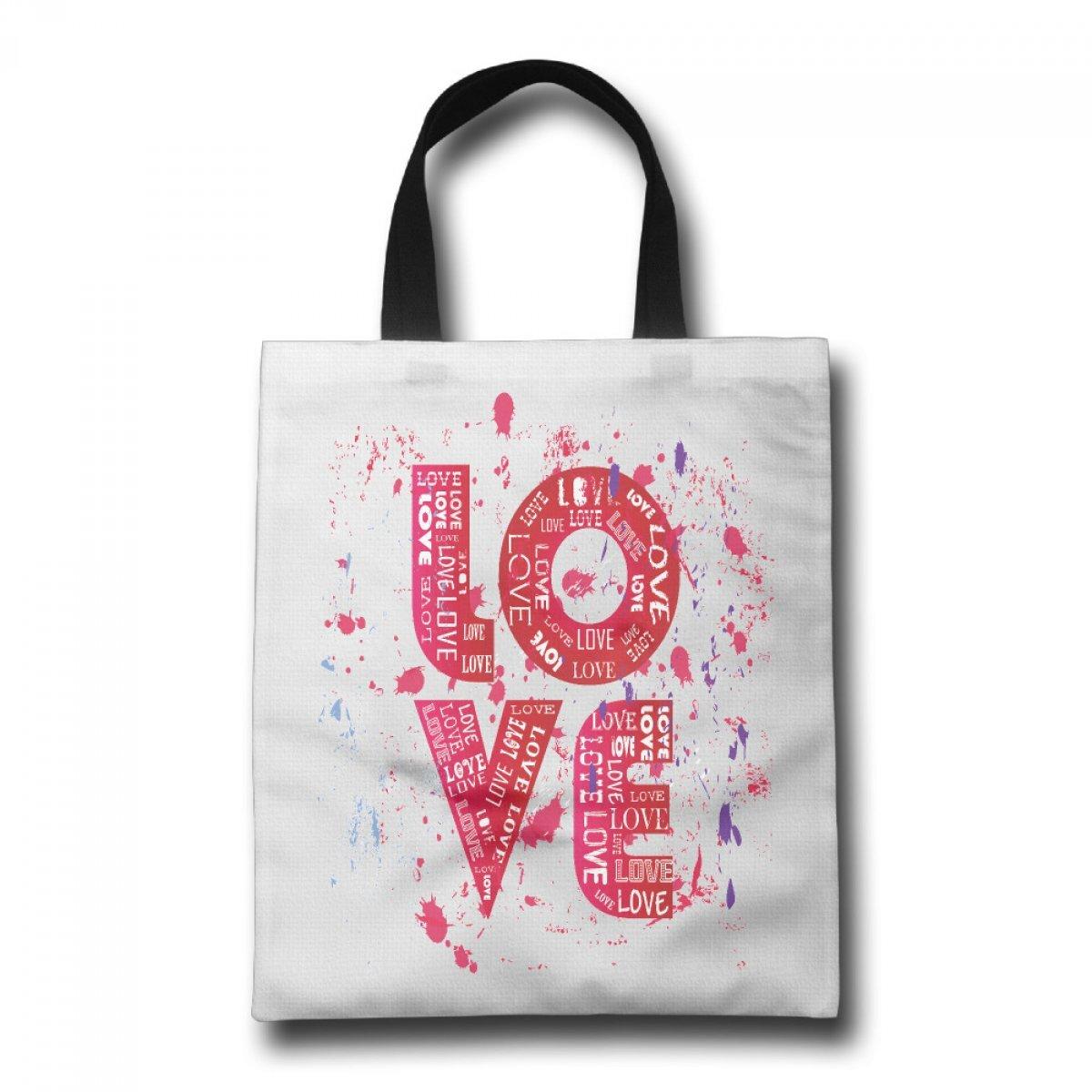 PhoRock Women Canvas Beach Tote LOVE Printed Tote Bag GWZM002 0