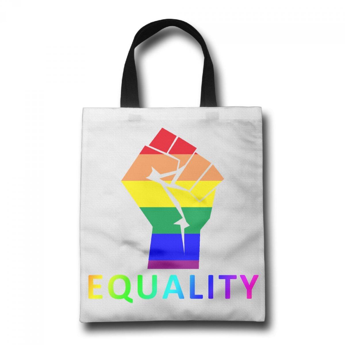 PhoRock Women Canvas Tote Bag Printing Equality Image Handbag Leisure School Books Bag GWRB002 0