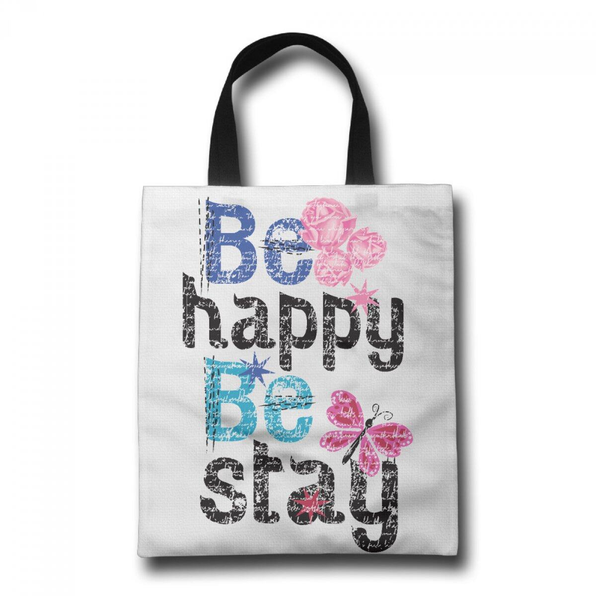 PhoRock Women Tote Bag Be Happy Printed Canvas Beach Tote GWZM020 0
