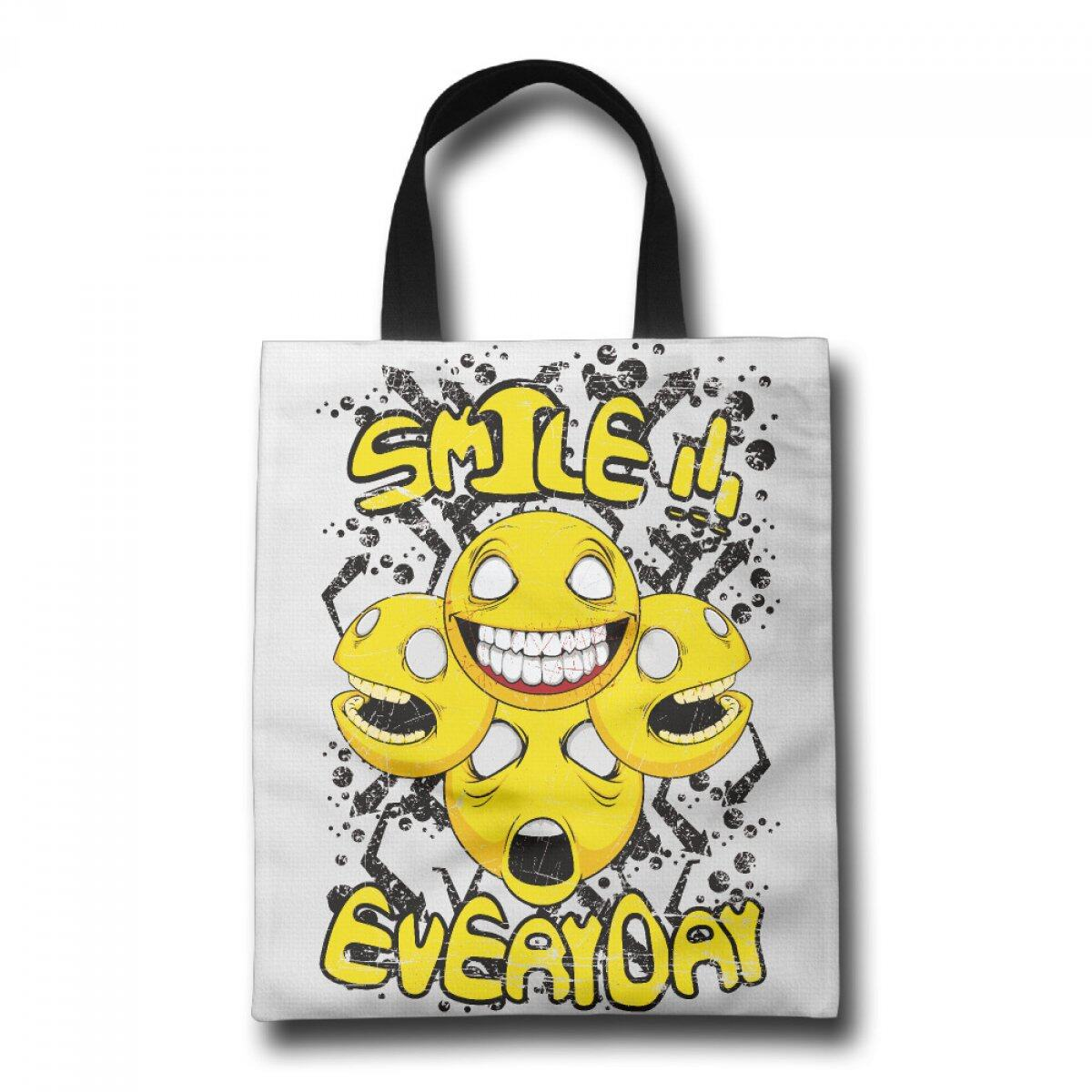 PhoRock Women Tote Bag Smile Everyday Printed Canvas Beach Tote GWQT020 0