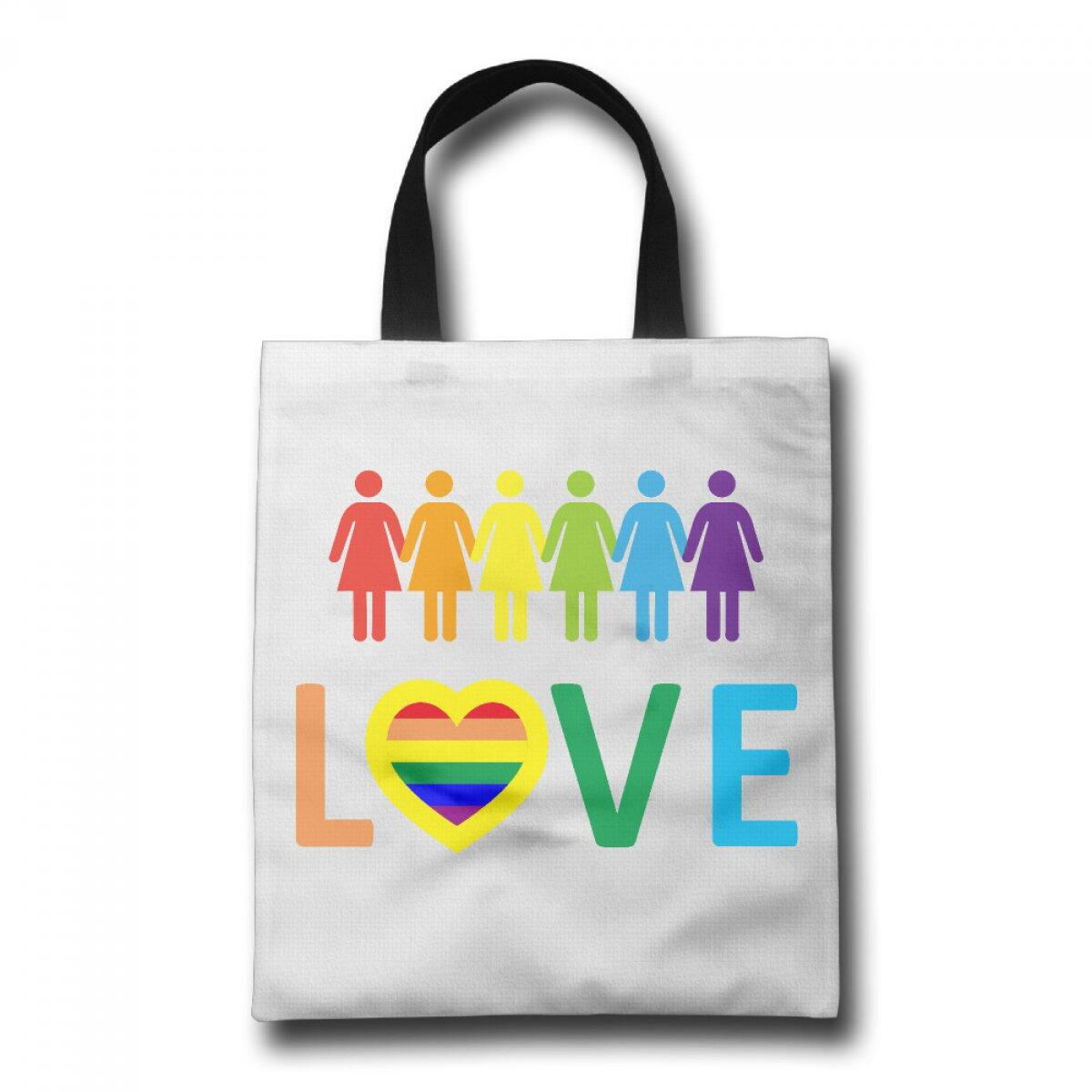 copy of PhoRock Women Canvas Tote Bag Printing Love and six people hand in hand Image GWRB005 0