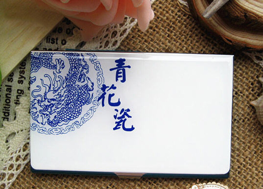 PhoRock Blue and White Porcelain Stainless Steel Business Card ...