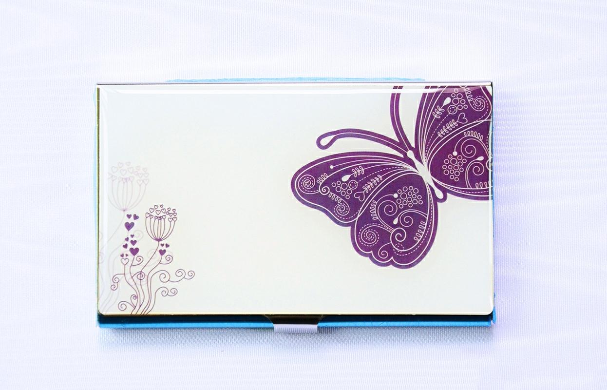 PhoRock Purple Butterfly Stainless Steel Business Card Holder Debit ...