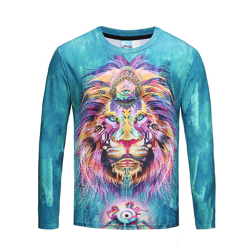 bcf613afd PhoRock Gentleman Lion 3D Printed Long Sleeve T-shirt CT3D011