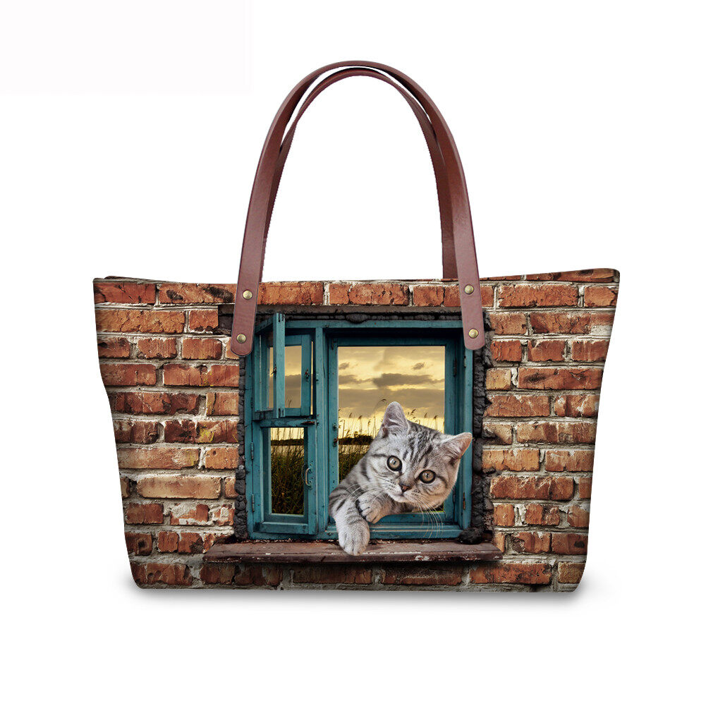 PhoRock Women 3D Cat & Dog lied on the Window Large Tote Bag NKB3D031 0