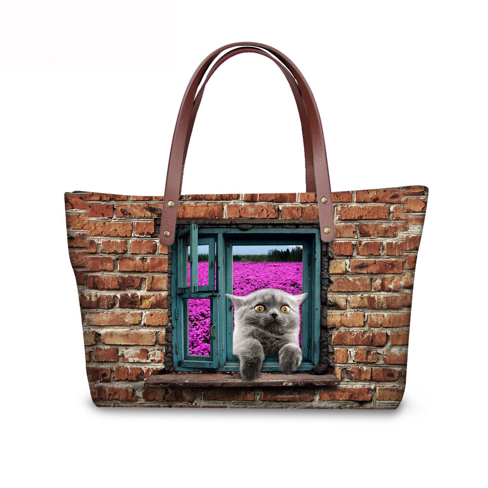 PhoRock Women 3D Cat & Dog lied on the Window Large Tote Bag NKB3D031 1