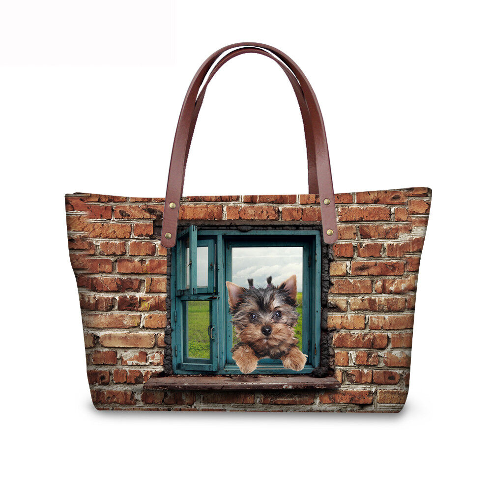 PhoRock Women 3D Cat & Dog lied on the Window Large Tote Bag NKB3D031 2