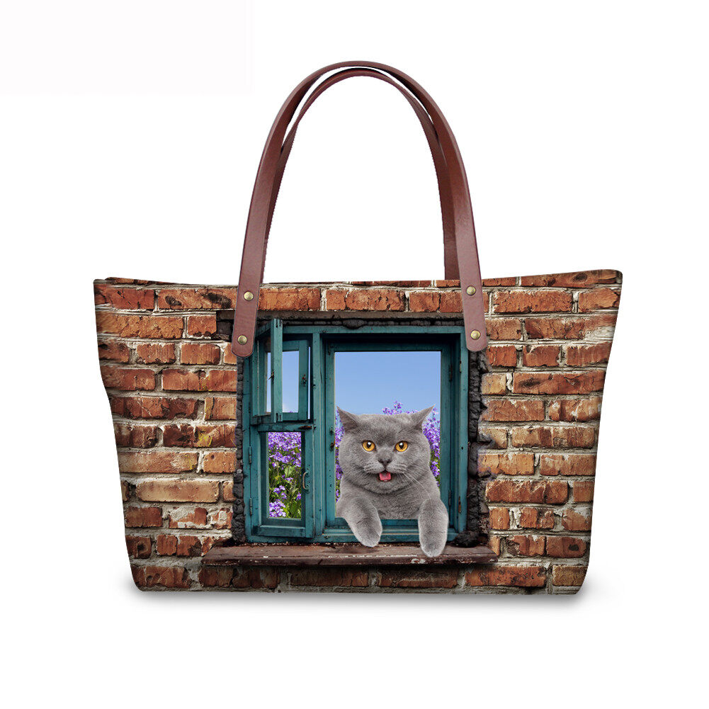PhoRock Women 3D Cat & Dog lied on the Window Large Tote Bag NKB3D031 3