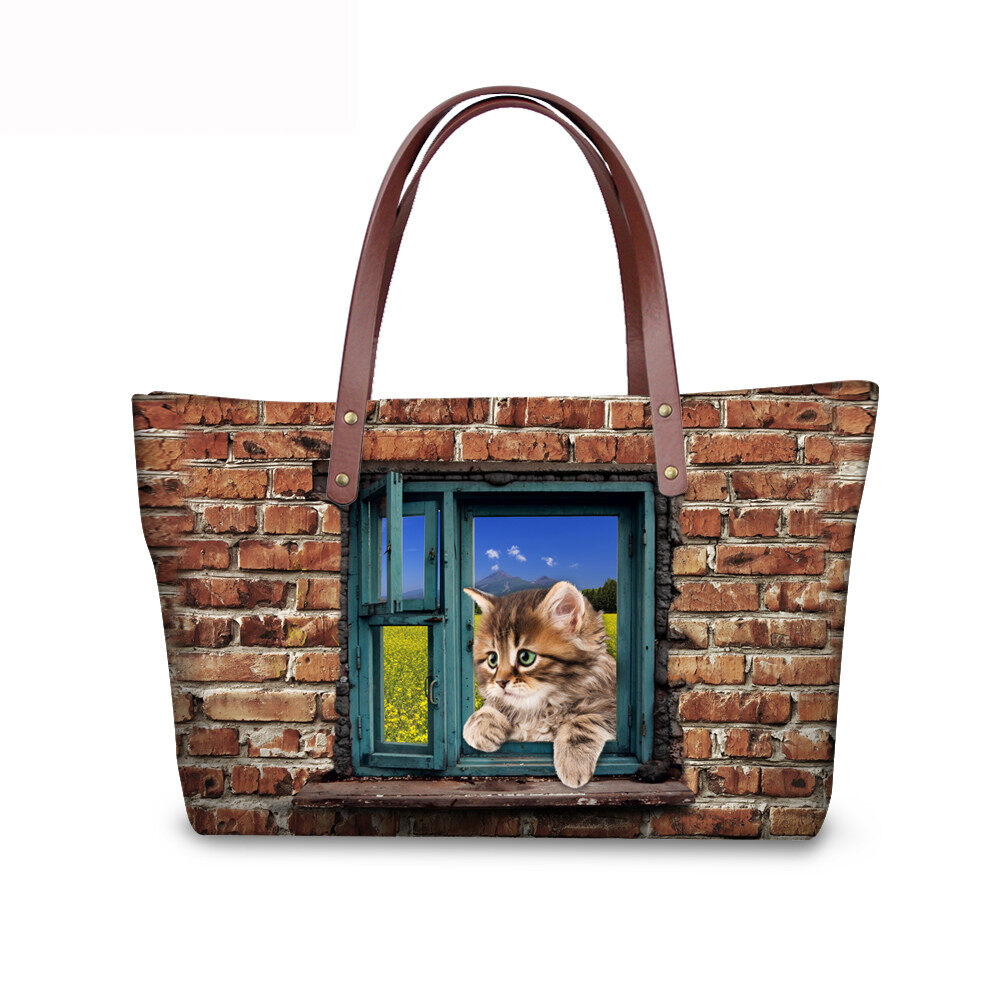 PhoRock Women 3D Cat & Dog lied on the Window Large Tote Bag NKB3D031 4